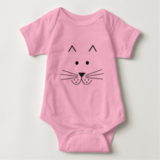 Stylized Abstract Cat Face Illustration Design Baby Bodysuit
