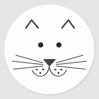 Stylized Abstract Cat Face Illustration Design Classic Round Sticker