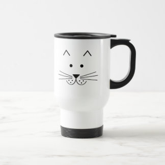 Stylized Abstract Cat Face Illustration Design 15 Oz Stainless Steel Travel Mug