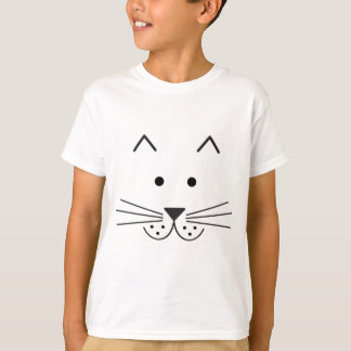 Stylized Abstract Cat Face Illustration Design T-Shirt