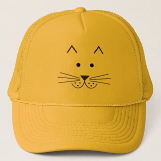 Stylized Abstract Cat Face Illustration Design Trucker Hat