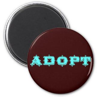 Stylized Adopt Design 2 Inch Round Magnet