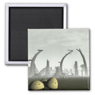 Stylized Alien City Magnet