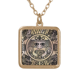 Stylized Ancient Aztec Mayan  2012 Prophesy Gold Plated Necklace