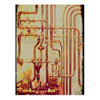 Stylized Antique Wall Pipes Postcard