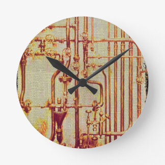 Stylized Antique Wall Pipes Round Clock