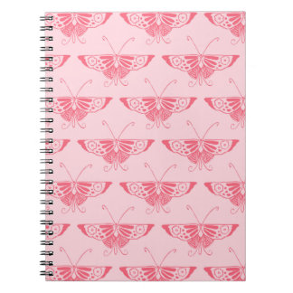 Stylized Art Deco butterfly - coral pink Notebook