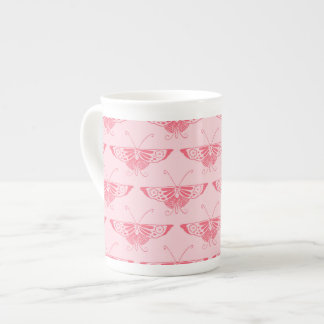 Stylized Art Deco butterfly - coral pink Tea Cup