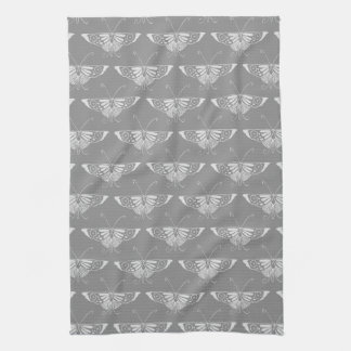 Stylized Art Deco butterfly, shades of grey / gray Hand Towel