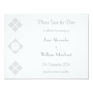 Stylized Art Nouveau Rose & Square Save the Date Custom Invites