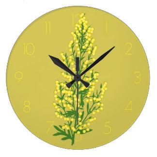 Stylized Artemesa Absentia Wormwood Flower Round Wall Clock