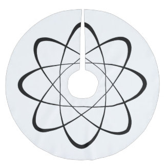 Stylized Atom Symbol Brushed Polyester Tree Skirt