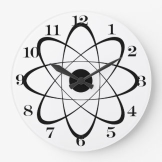 Stylized Atom Symbol Large Clock
