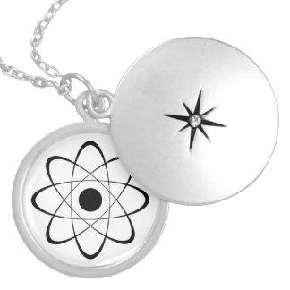Stylized Atom Symbol Round Locket Necklace