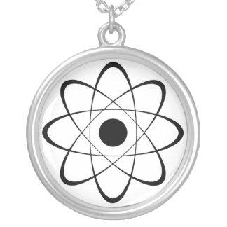 Stylized Atom Symbol Round Pendant Necklace