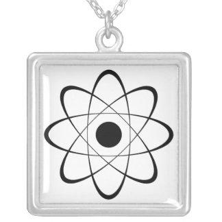 Stylized Atom Symbol Square Pendant Necklace