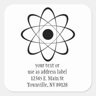 Stylized Atom Symbol Square Sticker