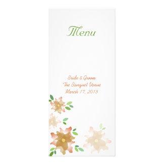 Stylized Azaleas Brown Wedding Menu Rack Card