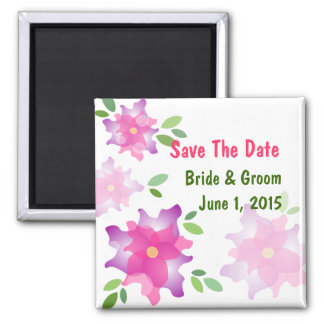 Stylized Azaleas Pink Save The Date Magnet
