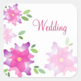 Stylized Azaleas Pink Wedding Stickers