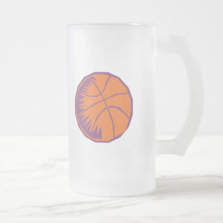 stylized basketball frosted glass beer mug