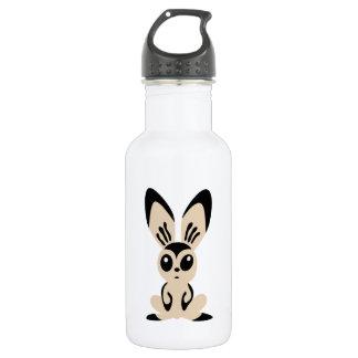Stylized Beige and Black Bunny Rabbit 18oz Water Bottle