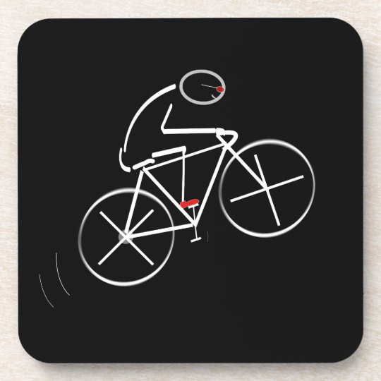 Stylized Bicyclist Design Beverage Coaster