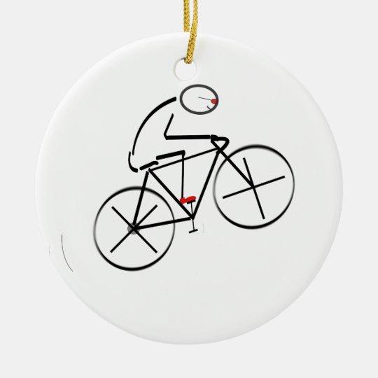Stylized Bicyclist Design Ceramic Ornament