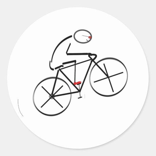 Stylized Bicyclist Design Classic Round Sticker