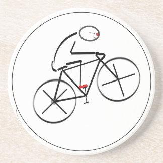 Stylized Bicyclist Design Coaster