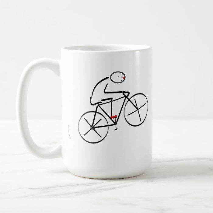 Stylized Bicyclist Design Coffee Mug