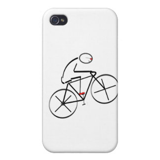 Stylized Bicyclist Design iPhone 4 Cover