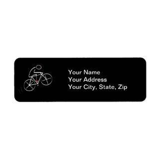 Stylized Bicyclist Design Label