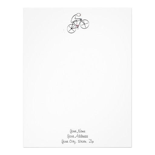 Stylized Bicyclist Design Letterhead