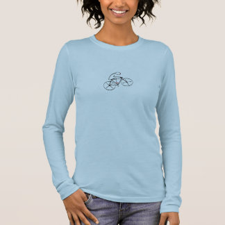 Stylized Bicyclist Design Long Sleeve T-Shirt