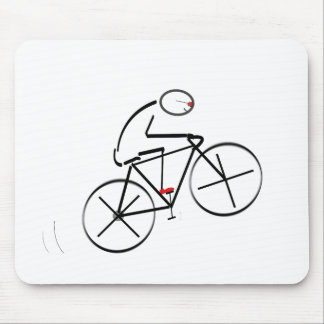 Stylized Bicyclist Design Mouse Pad