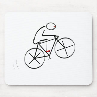 Stylized Bicyclist Design Mouse Pads