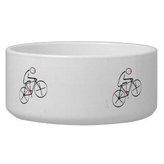 Stylized Bicyclist Design Pet Water Bowls