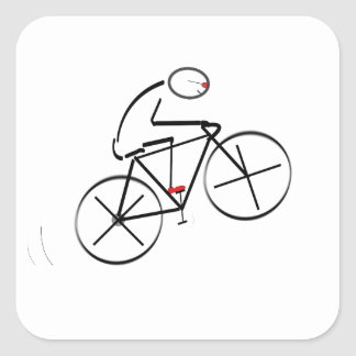 Stylized Bicyclist Design Square Sticker