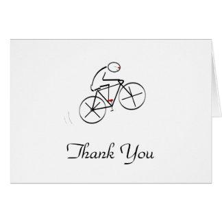 Stylized Bicyclist Design Thank You Card