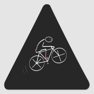 Stylized Bicyclist Design Triangle Sticker