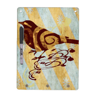 Stylized Bird and Swirls Dry Erase Board