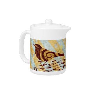 Stylized Bird and Swirls Teapot