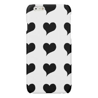 Stylized Black Hearts Glossy iPhone 6 Case