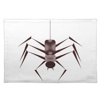 Stylized Black & Purple Spider Hanging by Webbing Cloth Place Mat