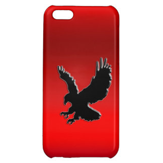 Stylized Black Swooping Eagle, red metallic effect iPhone 5C Case
