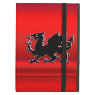 Stylized Black Welsh Dragon on red metallic effect iPad Air Case