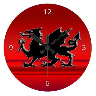 Stylized Black Welsh Dragon on red metallic effect Large Clock