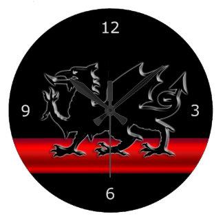 Stylized Black Welsh Dragon, red metallic effect Large Clock