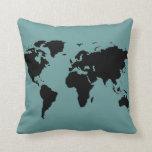 stylized black world map pillow